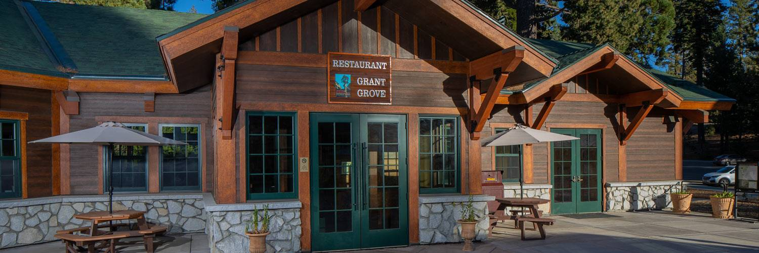 Exterior view of Grant Grove Restaurant entrance in Kings Canyon National Park