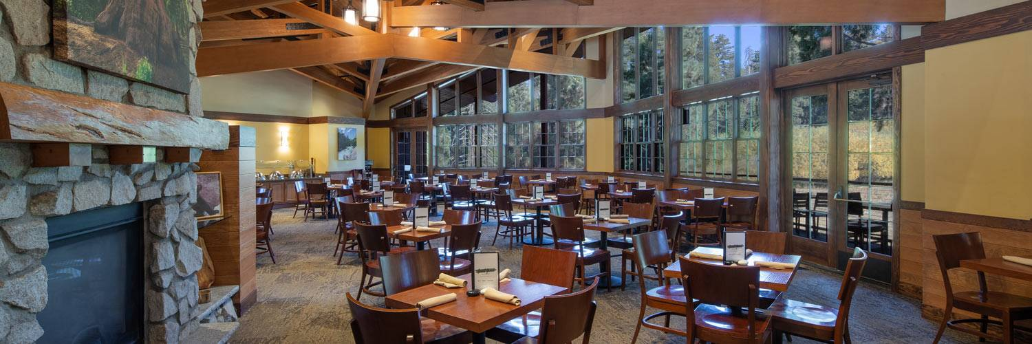 View of the dining room at Grant Grove Restaurant inside Kings Canyon National Park
