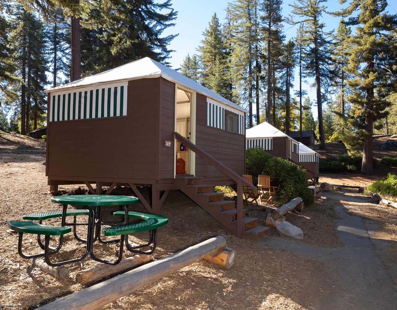 Several tent cabins at Grant Grove Cabins in Kings Canyon National Park