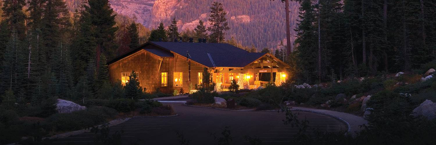 Wuksachi Lodge in Sequoia National Park with a vivid sunset in the background